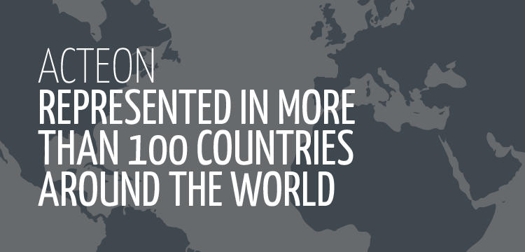 Acteon represented in more than 100 countries around the world