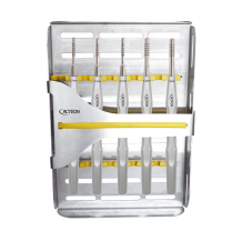 Set of 5 straight convex osteotomes with tray